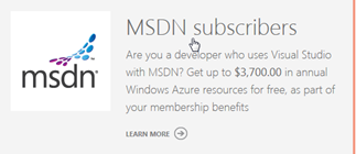MSDN Azure benefits